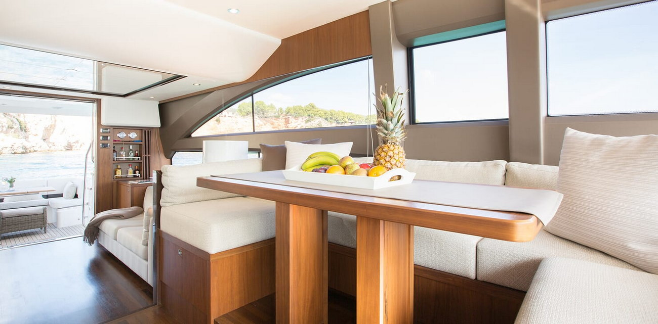 Princess-yacht-64-table-saloon